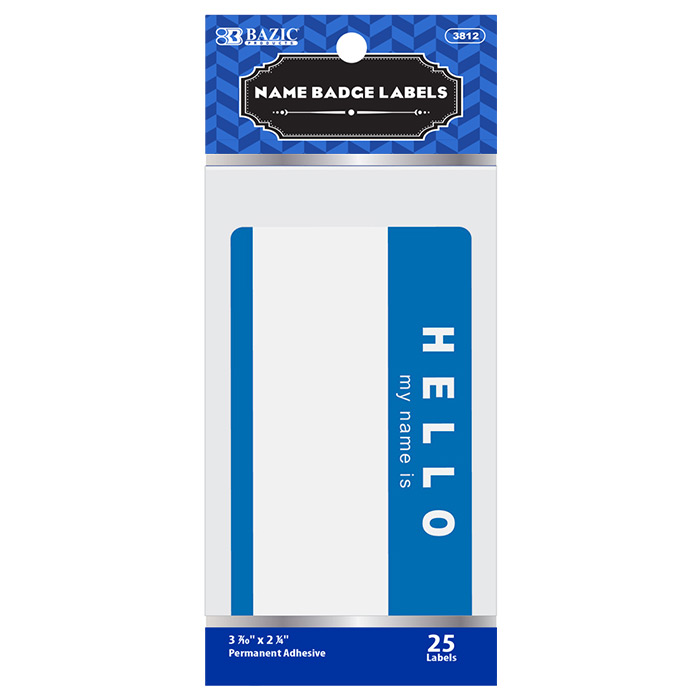 BAZIC HELLO my name is Name Badge Label (25/Pack)