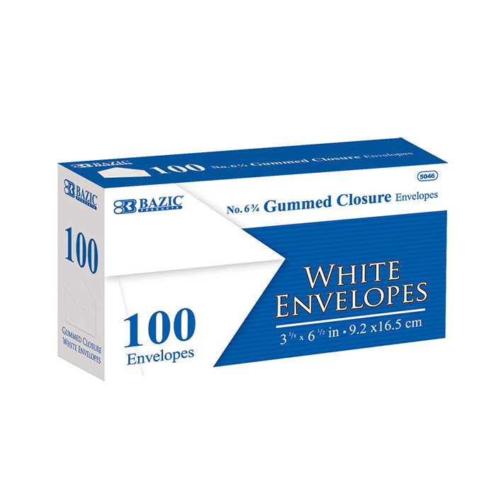 BAZIC #6 3/4 White Envelope w/ Gummed Closure (100/Pack)