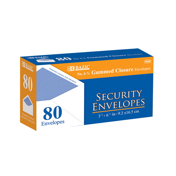 BAZIC #6 3/4 Security Envelope w/ Gummed Closure (80/Pack)