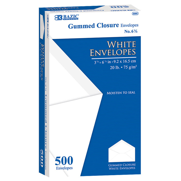 BAZIC #6 3/4 White Envelope w/ Gummed Closure (500/Box)