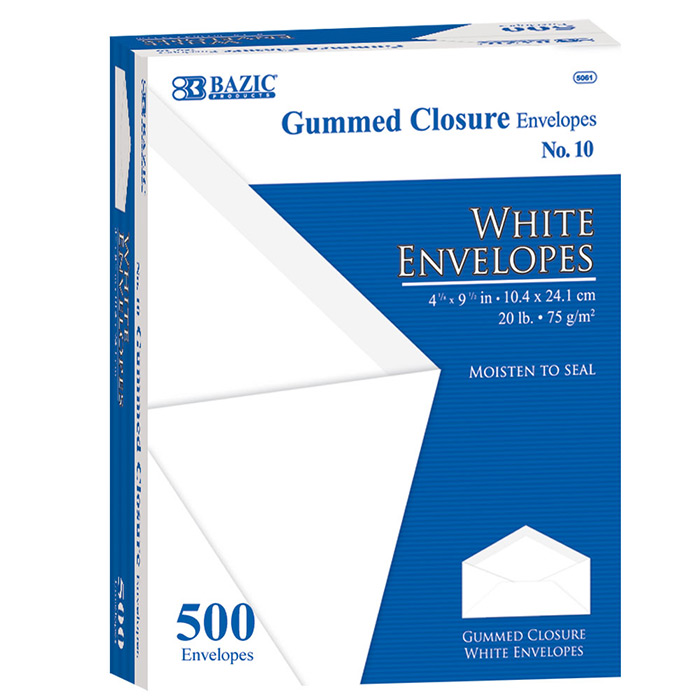 BAZIC #10 White Envelope w/ Gummed Closure (500/Box)