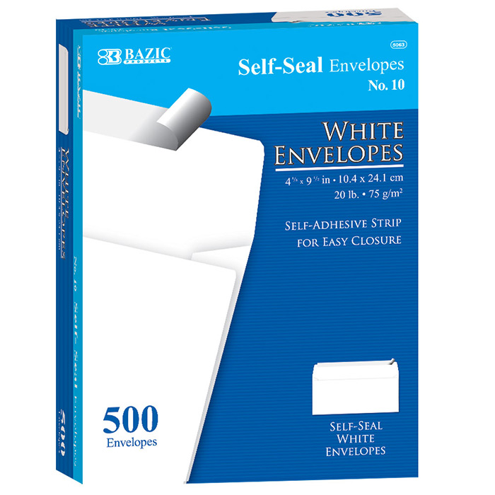 BAZIC #10 Peel & Seal White Envelope (500/Box)