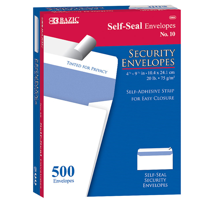 BAZIC #10 Peel & Seal Security Envelope (500/Box)