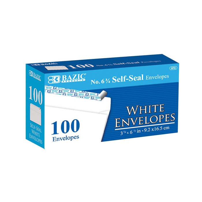 BAZIC #6 3/4 Peel & Seal White Envelope (100/Pack)