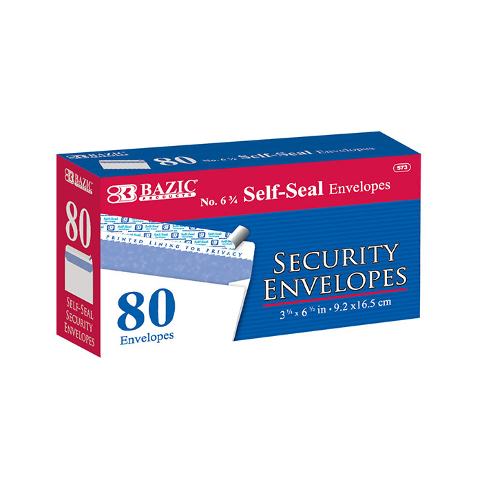 BAZIC #6 3/4 Peel & Seal Security Envelope (80/Pack)