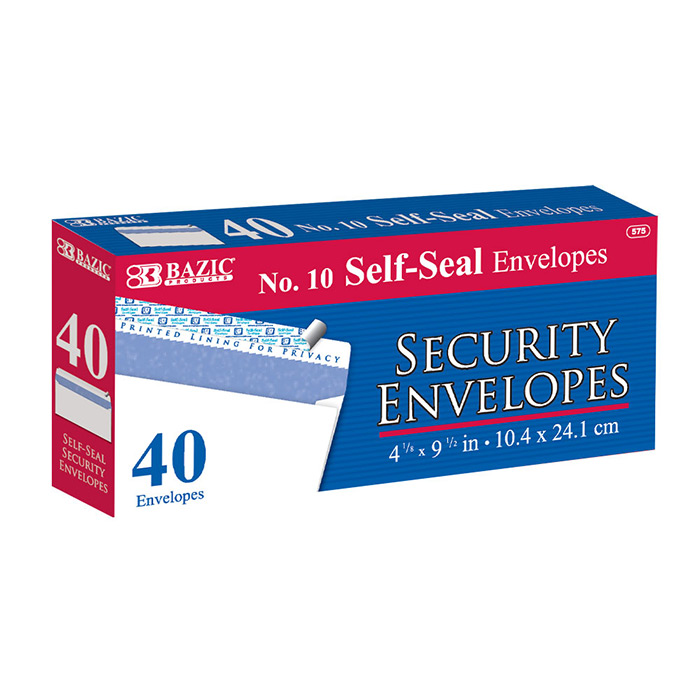 BAZIC #10 Peel & Seal Security Envelope (40/Pack)