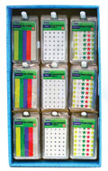 Asstd Color Star & White Reinforcement Labels w/ Display